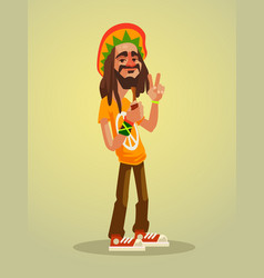 cute happy rastafarian man character vector image vector image