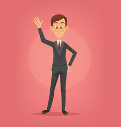 happy smiling businessman character waving hand vector image vector image