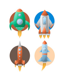 rockets colorful set of four against circles on vector image vector image
