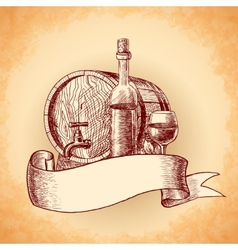 Wine hand drawn background vector image