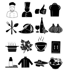 Chef restaurant icons set vector image vector image