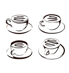 Coffee cup shapes vector image vector image