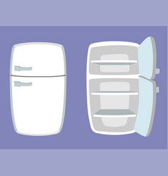 fridge in cartoon style open and closed vector image