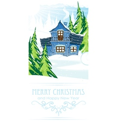 Brick house in a pine forest vector image