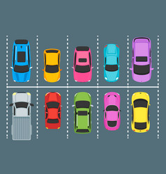 cartoon parking zones with cars top view vector image