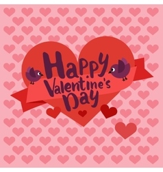 Happy valentines day card lettering with heart vector image vector image