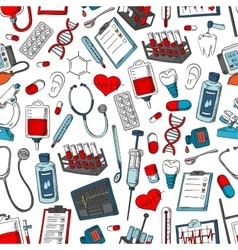 Medical seamless pattern of medicine items vector image vector image