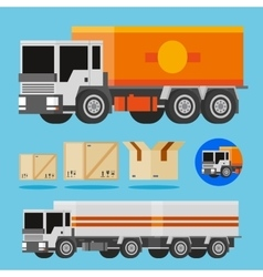 orange and white delivery trucks vector image vector image