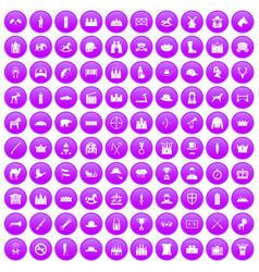 100 horsemanship icons set purple vector