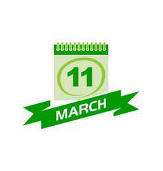 11 march calendar with ribbon vector