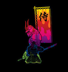 2 samurai composition with flag vector image