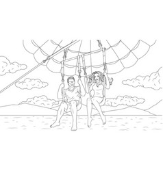 a young couple flies on a parachute vector image
