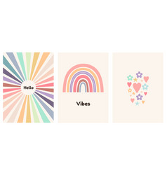 Abstract children art poster with rainbow vector