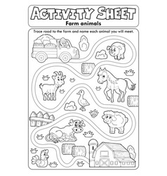 Activity sheet farm animals 2 vector