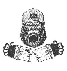 Angry gorilla cracked skateboard vector