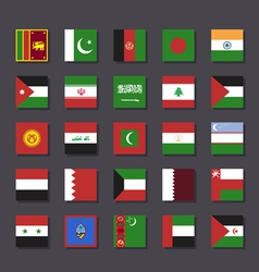 Asia Middle East flag icon set Metro style vector