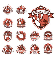 Bowling emblem and design element logotype vector