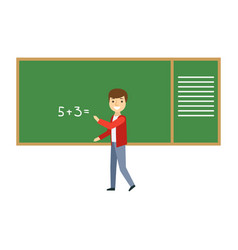 Boy solving math problem on blackboard in vector