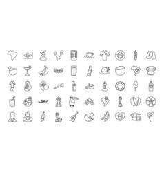 brazil line style icon set design vector image