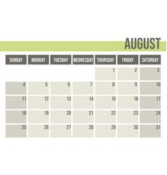 calendar planner 2019 monthly planner august vector image