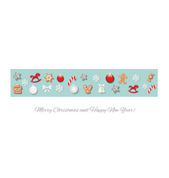 christmas border decorated with different toys and vector image