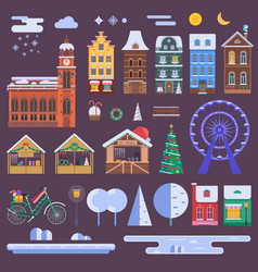 Christmas city constructor vector