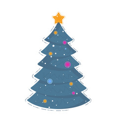 christmas tree icon for holiday card vector image