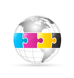 CMYK world globe vector image