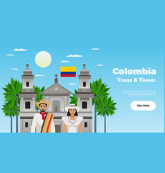 Colombia tours and travel poster vector