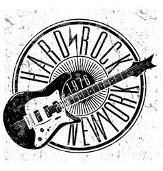 cool grunge hand drawn electric guitar with vector image