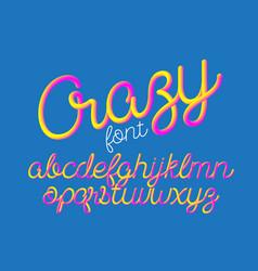 crazy color 3d alphabet pipe font vector image