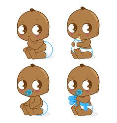 Cute african american baby boy vector