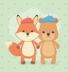 Cute and little fox and bear characters vector