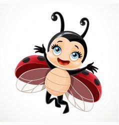 Cute cartoon little ladybug flying on a white vector