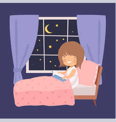 cute smiling little girl reading a book in bed vector image