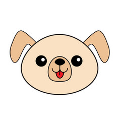 Dog happy round face head icon contour line vector