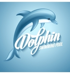 Dolphin Swimming pool sign template vector image