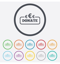 Donate sign icon Euro eur symbol vector