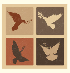 dove of peace silhouette emblems grunge pigeon vector image