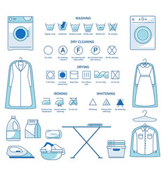 dry cleaning and washing ironing and drying or vector image