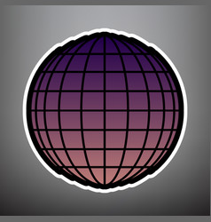 earth globe sign violet gradient icon vector image