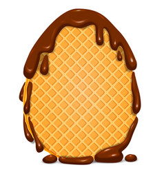 Easter egg waffle in chocolate blank banner vector