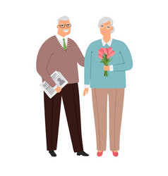 elderly couple in love vector image
