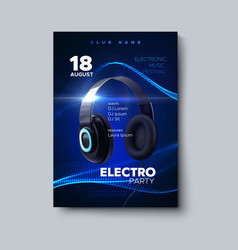 electro party invitation design template vector image