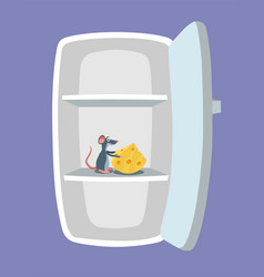 empty fridge and mouse with cheese inside it vector image