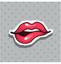 fashion patch badge with sexy biting lips pop art vector image