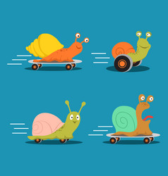 fast characters snails cartoon set vector image