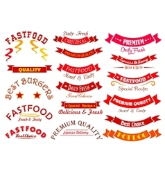 Fast food sign set with ribbon banner and header vector image