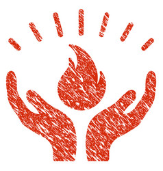 Fire care hands icon grunge watermark vector