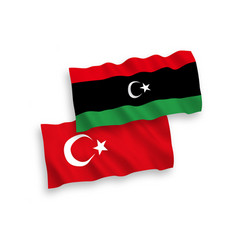 Flags turkey and libya on a white background vector